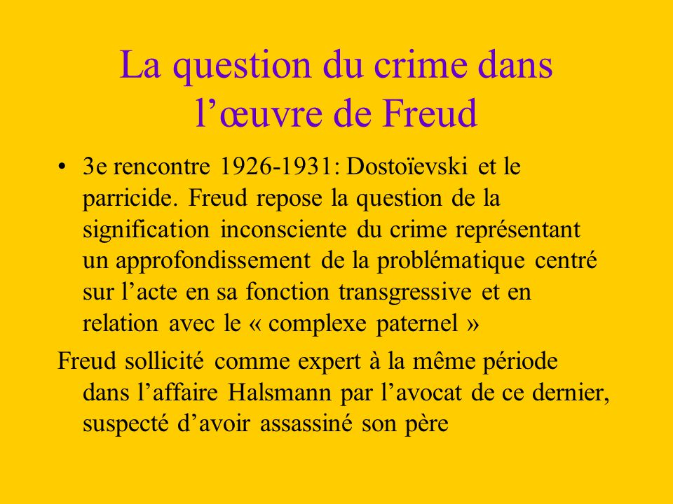 La question du crime dans l'œuvre de Freud