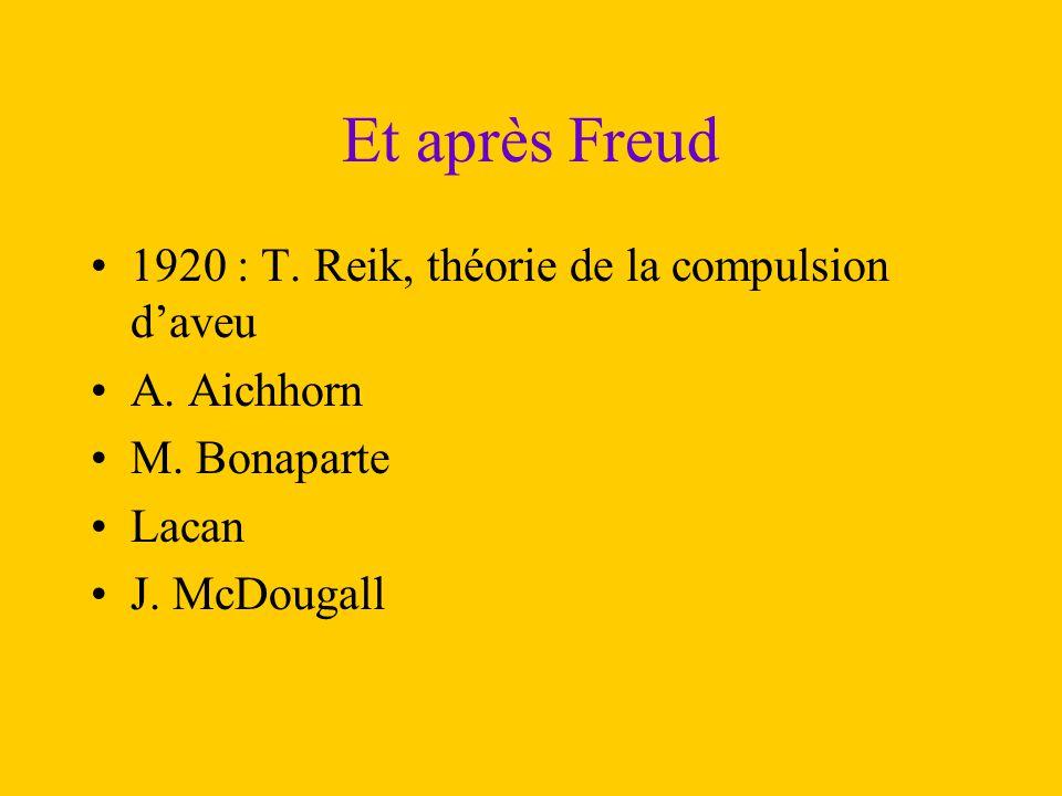 Et après Freud 1920 : T. Reik, théorie de la compulsion d'aveu