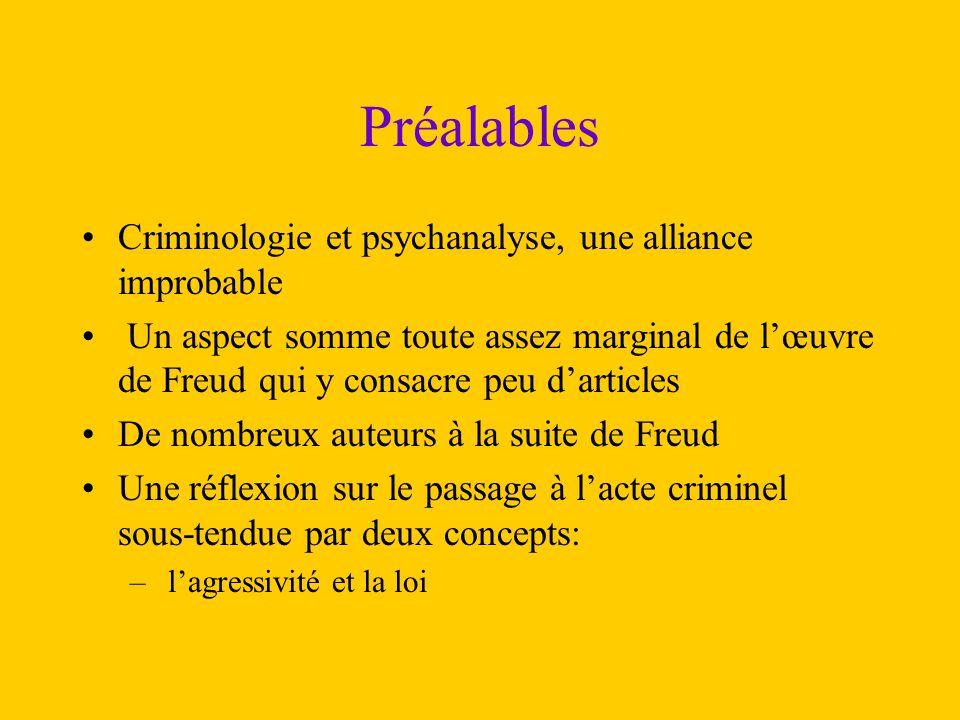 Préalables Criminologie et psychanalyse, une alliance improbable