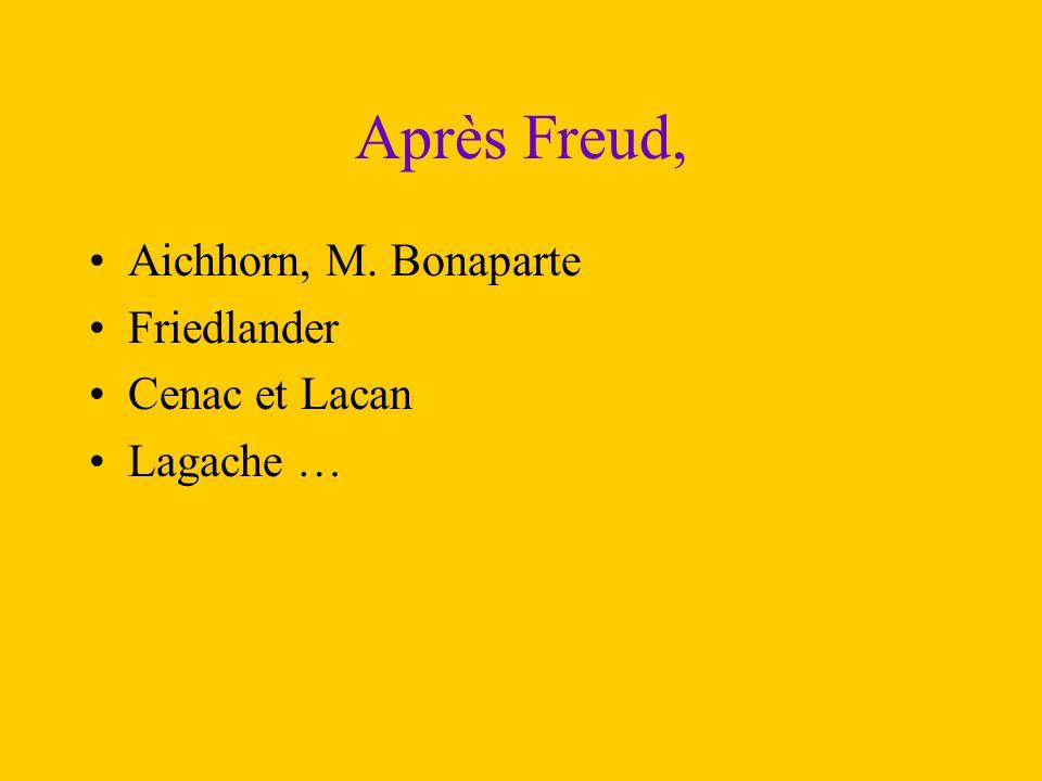 Après Freud, Aichhorn, M. Bonaparte Friedlander Cenac et Lacan