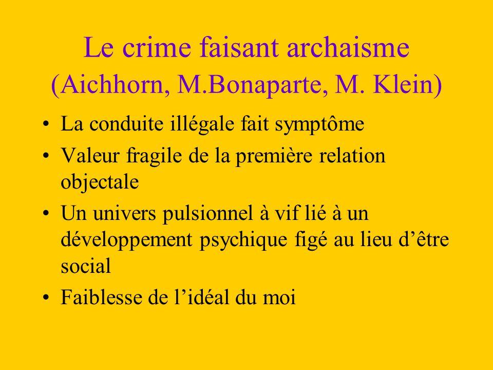 Le crime faisant archaisme (Aichhorn, M.Bonaparte, M. Klein)