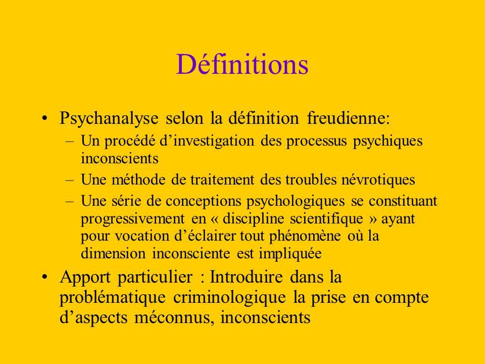 Définitions Psychanalyse selon la définition freudienne: