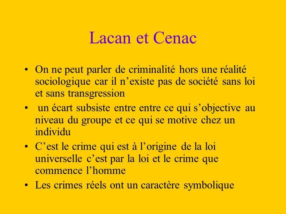 Lacan et Cenac On ne peut parler de criminalité hors une réalité sociologique car il n'existe pas de société sans loi et sans transgression.