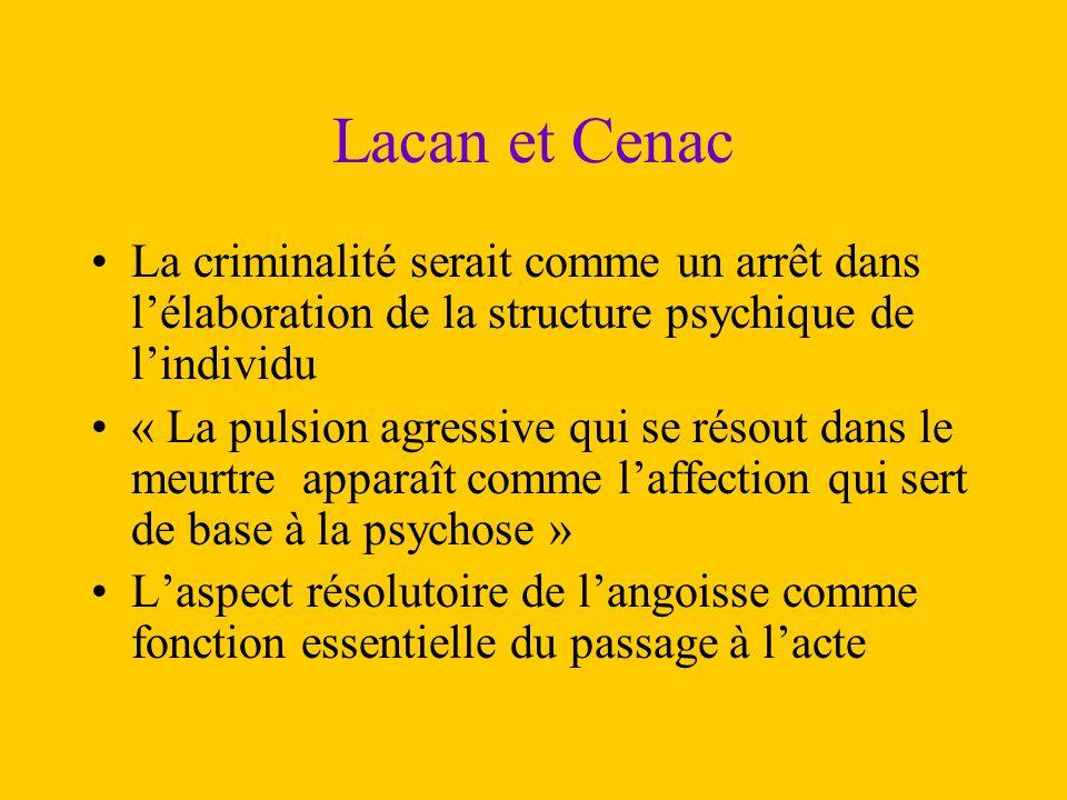 Lacan et Cenac La criminalité serait comme un arrêt dans l'élaboration de la structure psychique de l'individu.