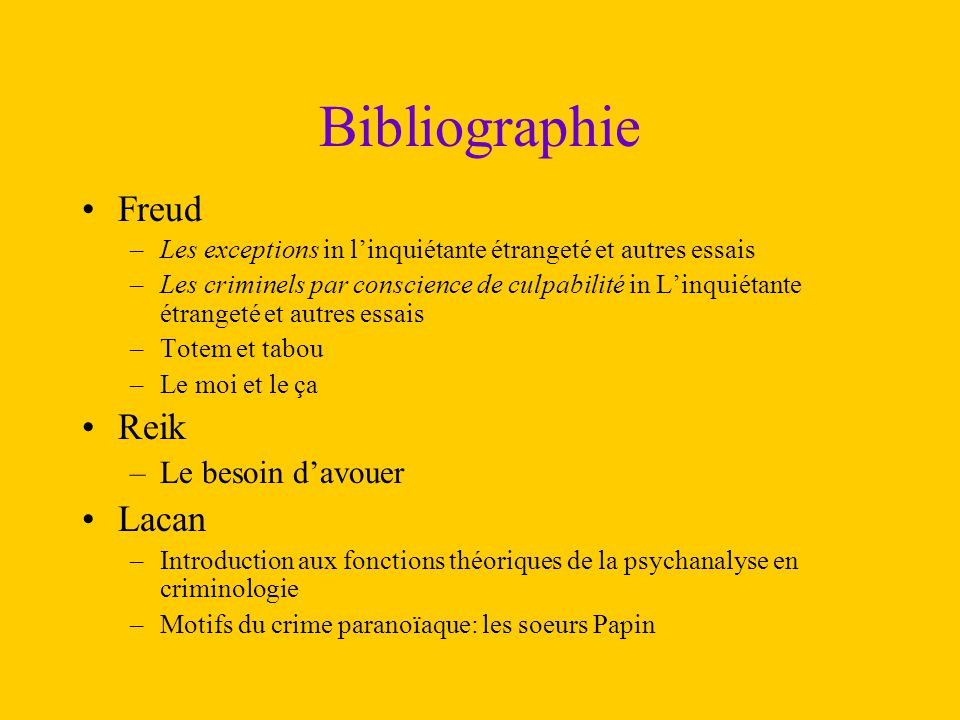 Bibliographie Freud Reik Lacan Le besoin d'avouer