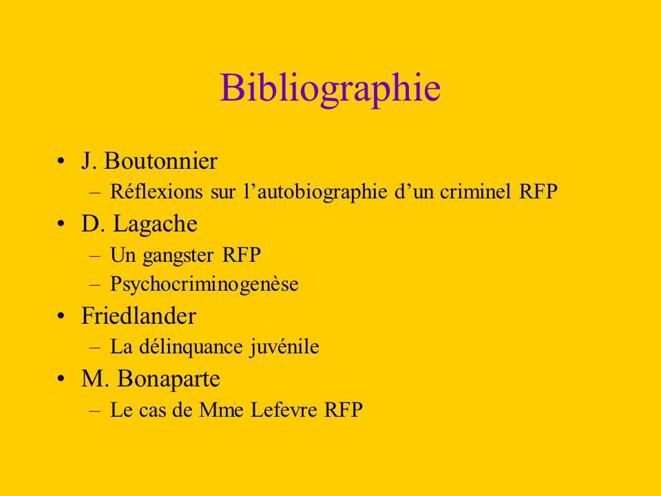 Bibliographie J. Boutonnier D. Lagache Friedlander M. Bonaparte
