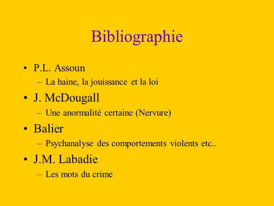 Bibliographie J. McDougall Balier J.M. Labadie P.L. Assoun
