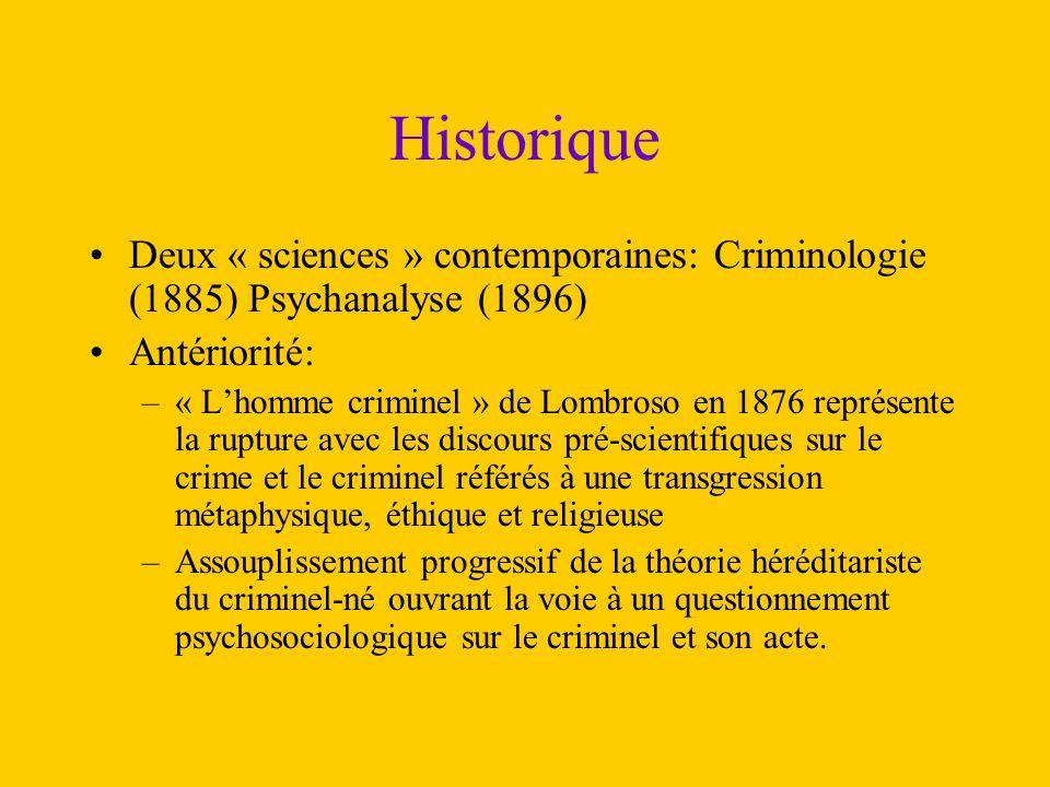 Historique Deux « sciences » contemporaines: Criminologie (1885) Psychanalyse (1896) Antériorité: