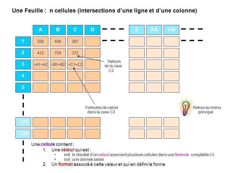 Une Feuille : n cellules (intersections d'une ligne et d'une colonne)