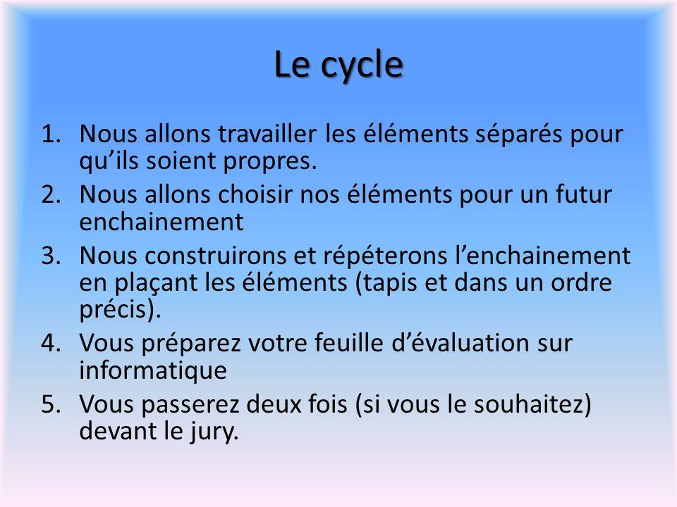 Le cycle Nous allons travailler les éléments séparés pour qu'ils soient propres. Nous allons choisir nos éléments pour un futur enchainement.