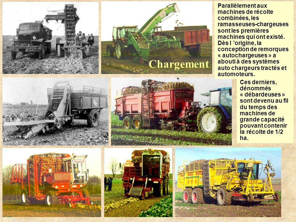 Parallèlement aux machines de récolte combinées, les ramasseuses-chargeuses sont les premières machines qui ont existé.