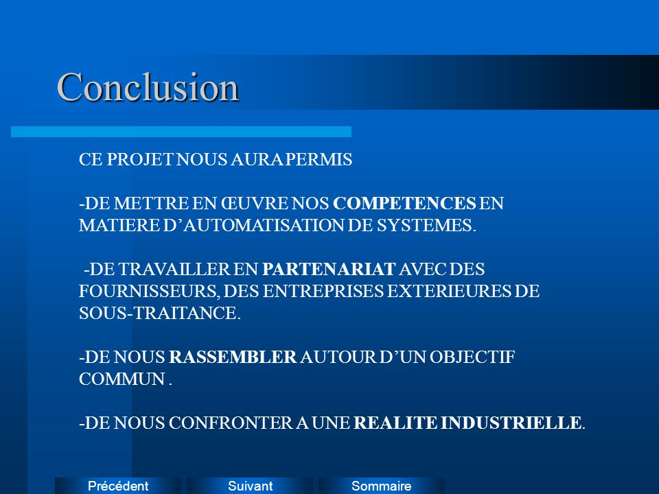 Conclusion CE PROJET NOUS AURA PERMIS