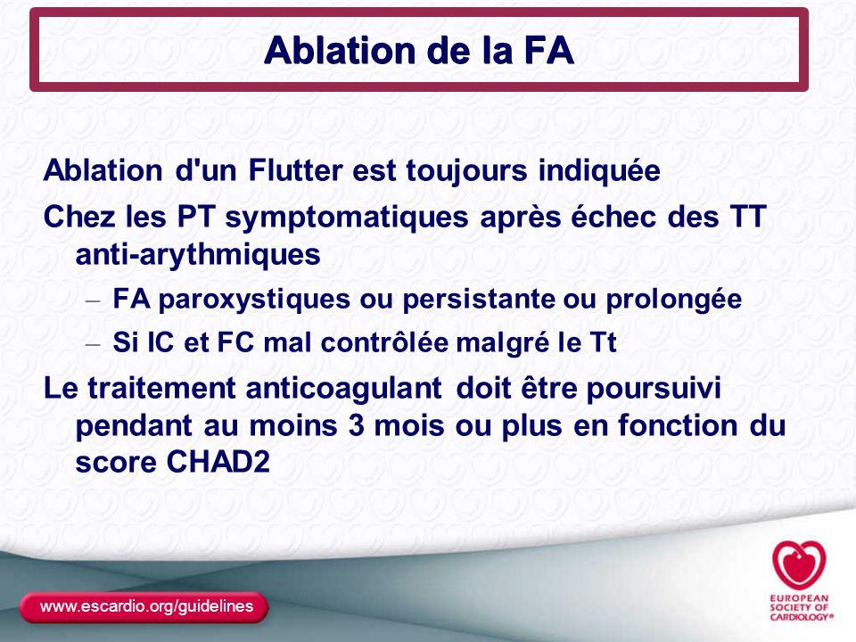 Ablation de la FA Ablation d un Flutter est toujours indiquée