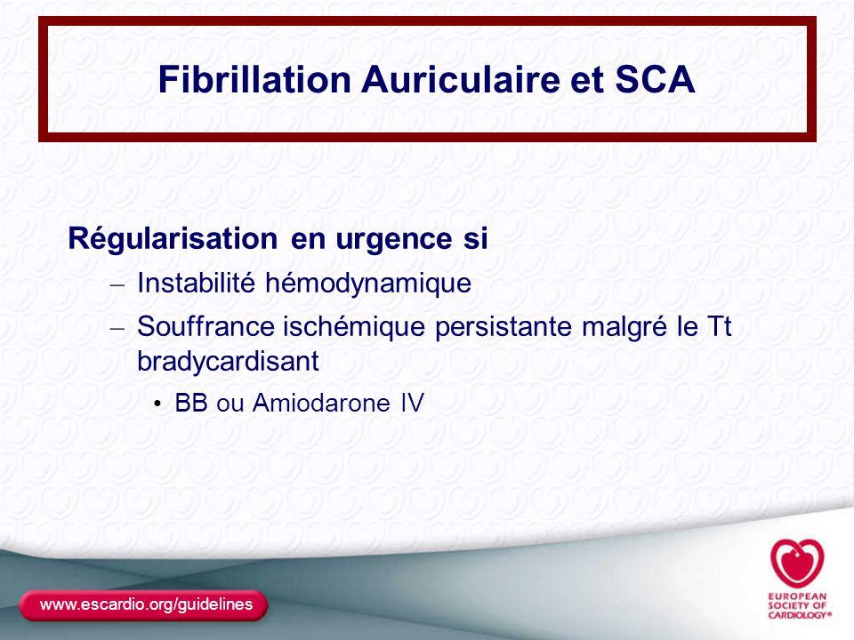 Fibrillation Auriculaire et SCA