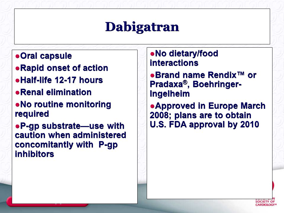 Dabigatran No dietary/food interactions Oral capsule