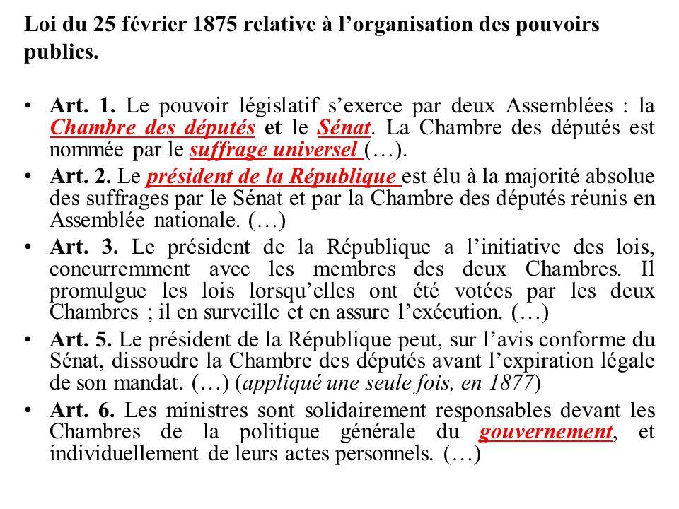 Loi du 25 février 1875 relative à l'organisation des pouvoirs