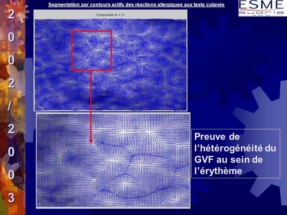 2 / 3 Preuve de l'hétérogénéité du GVF au sein de l'érythème