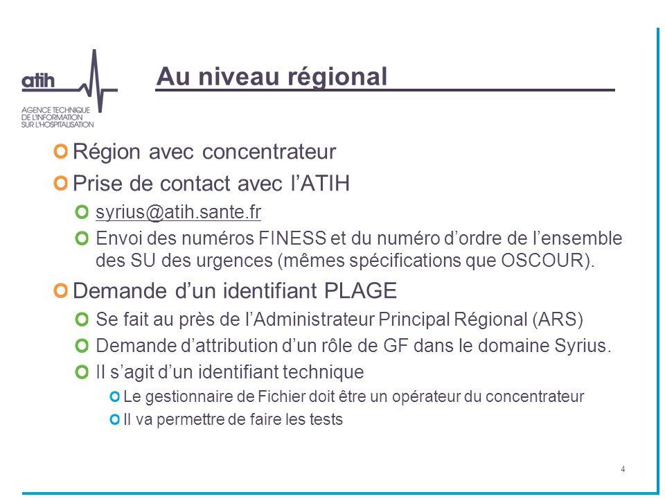 Au niveau régional Région avec concentrateur