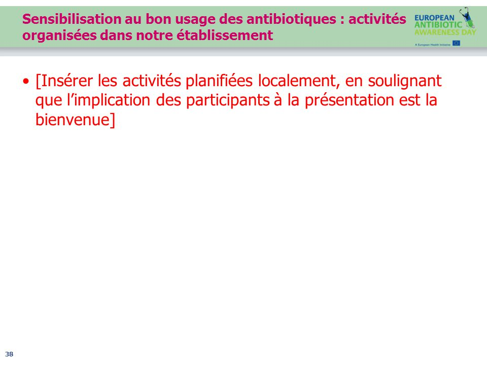 Sensibilisation au bon usage des antibiotiques : activités organisées dans notre établissement