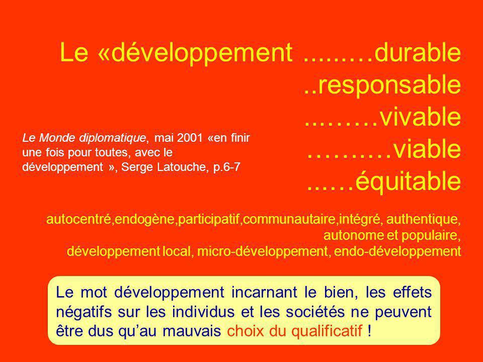 Le «développement. …durable. responsable. ……vivable ……. …viable