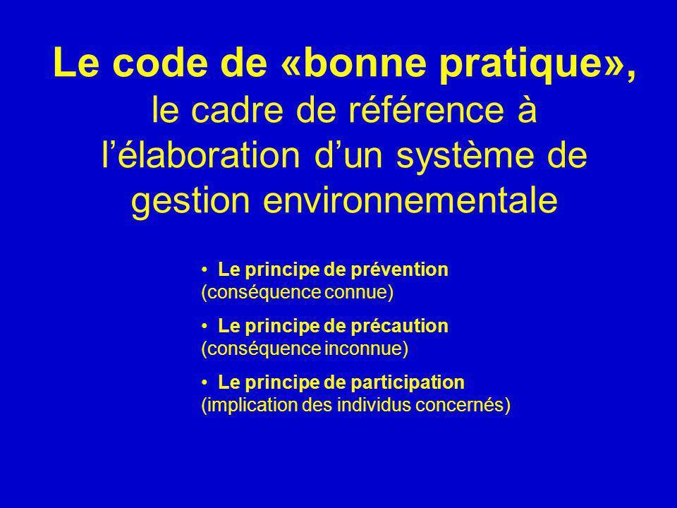 Le code de «bonne pratique», le cadre de référence à l'élaboration d'un système de gestion environnementale