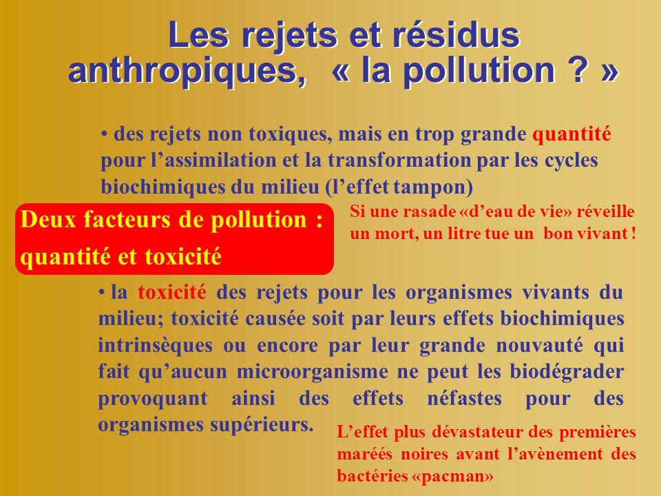 Les rejets et résidus anthropiques, « la pollution »
