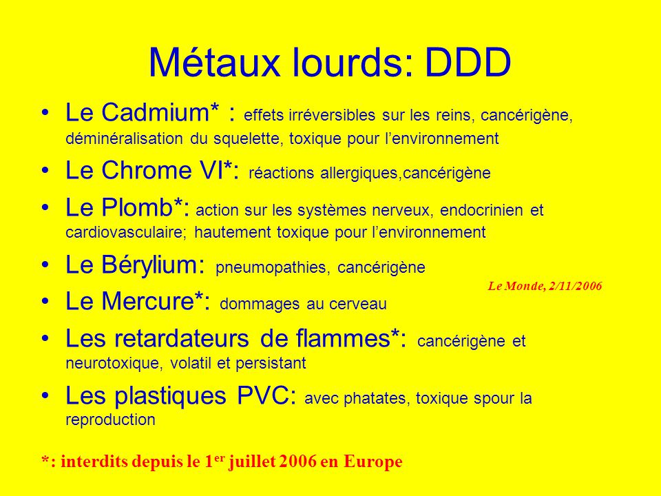 Métaux lourds: DDD Le Cadmium* : effets irréversibles sur les reins, cancérigène, déminéralisation du squelette, toxique pour l'environnement.