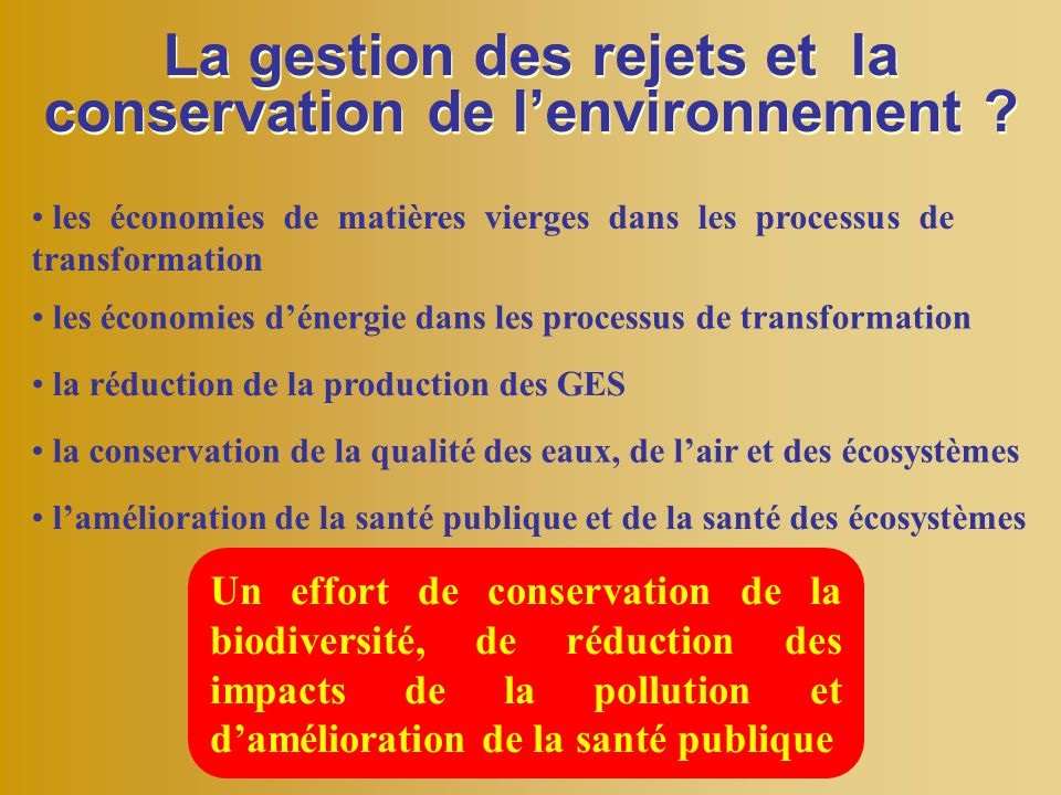 La gestion des rejets et la conservation de l'environnement