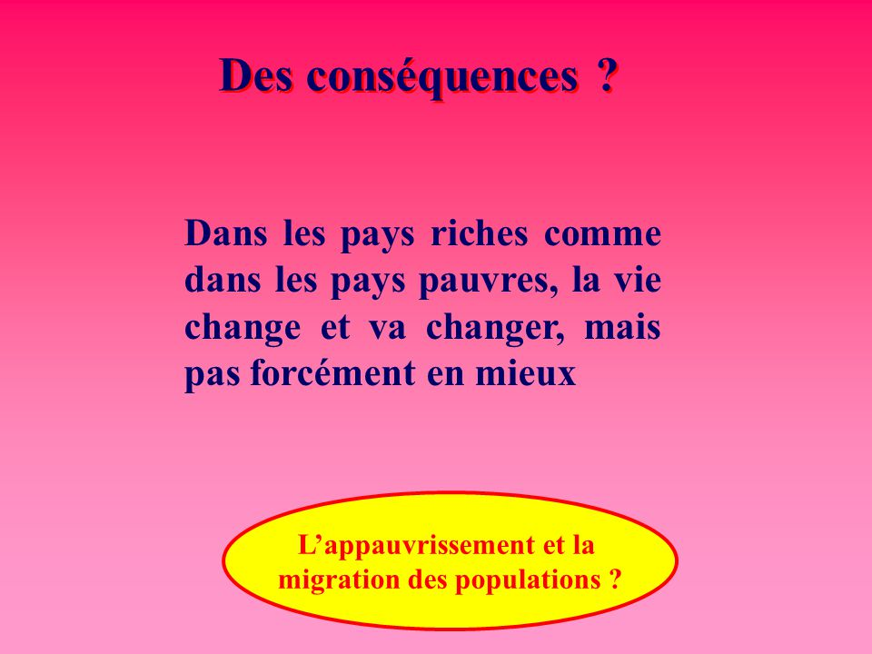 L'appauvrissement et la migration des populations