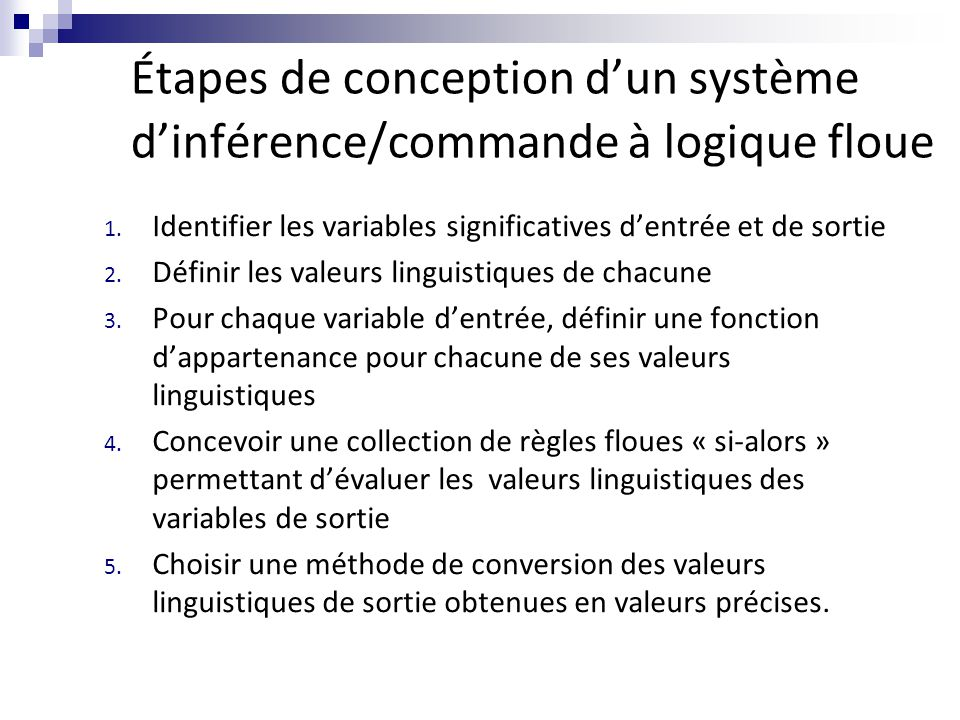 Étapes de conception d'un système d'inférence/commande à logique floue