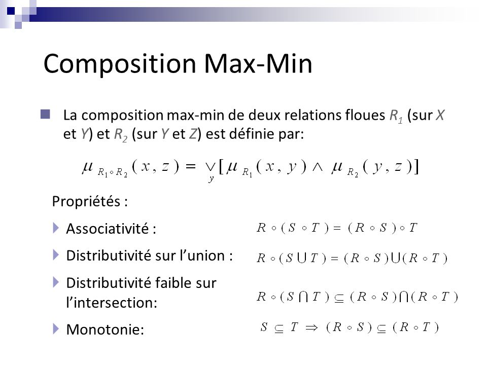 Composition Max-Min La composition max-min de deux relations floues R1 (sur X et Y) et R2 (sur Y et Z) est définie par: