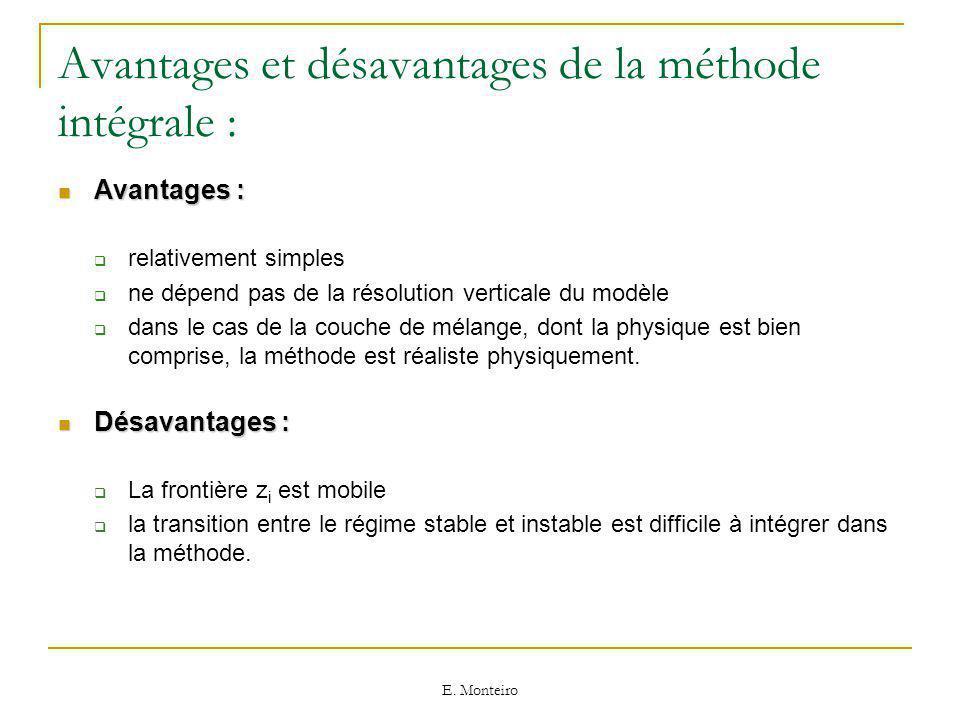 Avantages et désavantages de la méthode intégrale :