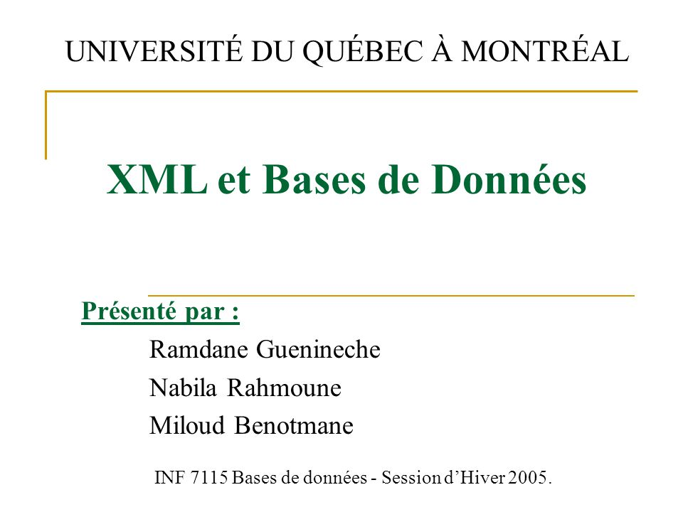 Présenté par : Ramdane Guenineche Nabila Rahmoune Miloud Benotmane
