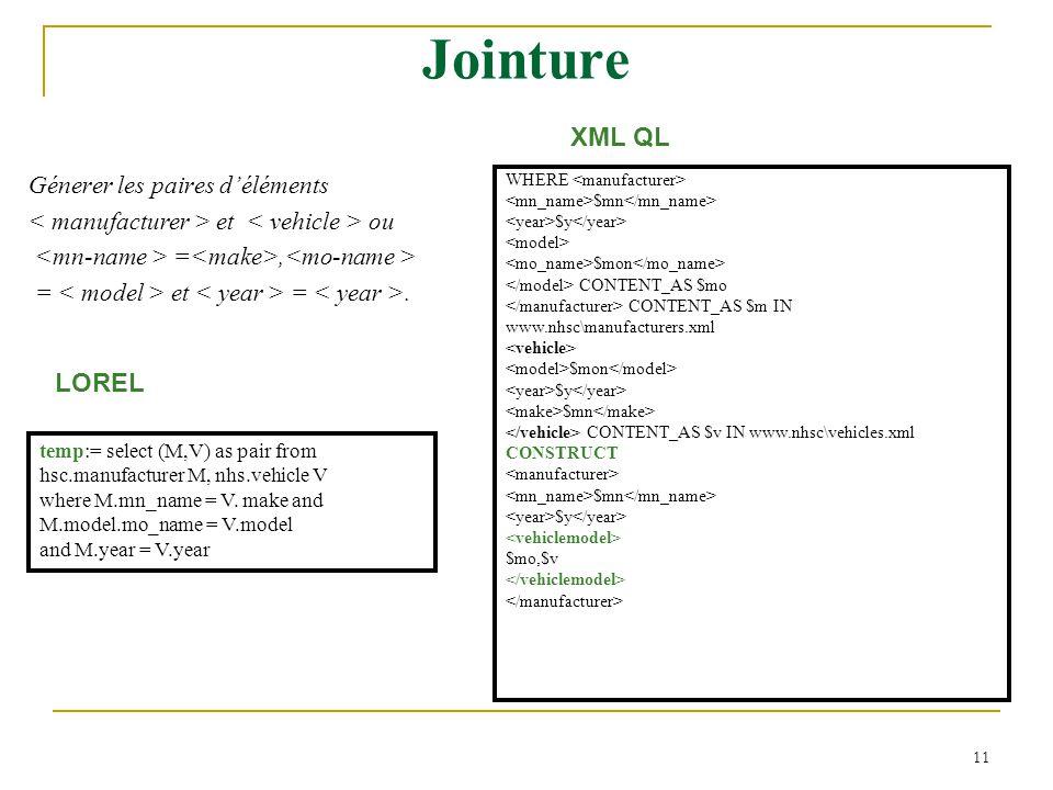 Jointure XML QL LOREL Génerer les paires d'éléments