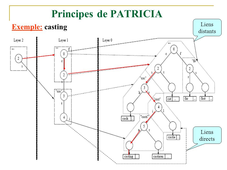 Principes de PATRICIA Liens distants Exemple: casting Liens directs