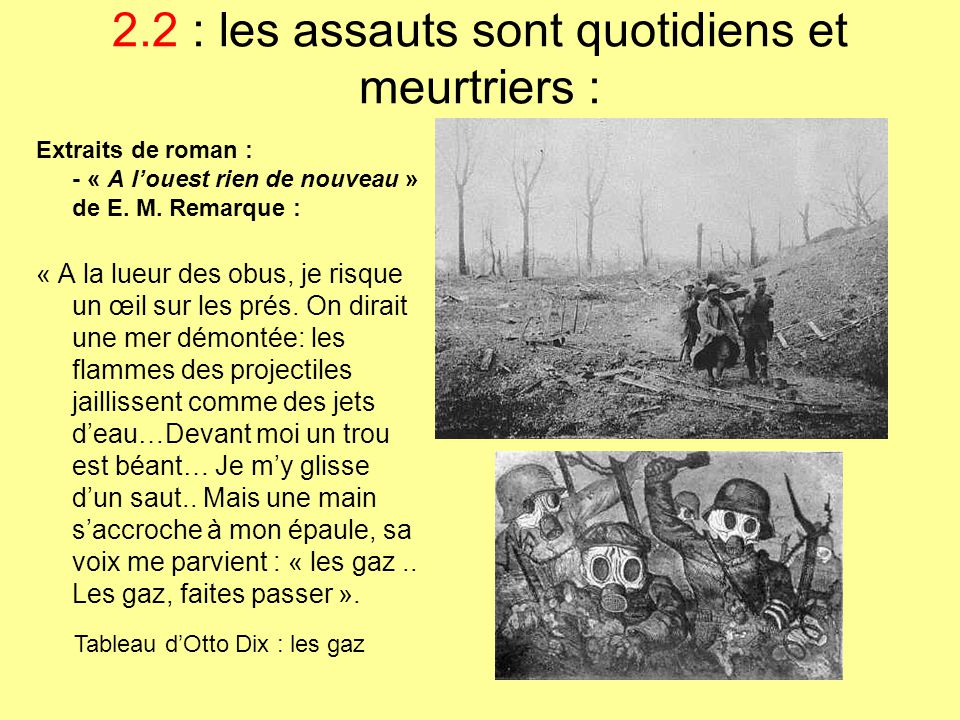 2.2 : les assauts sont quotidiens et meurtriers :
