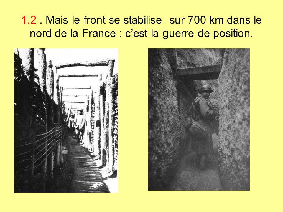 1.2 . Mais le front se stabilise sur 700 km dans le nord de la France : c'est la guerre de position.