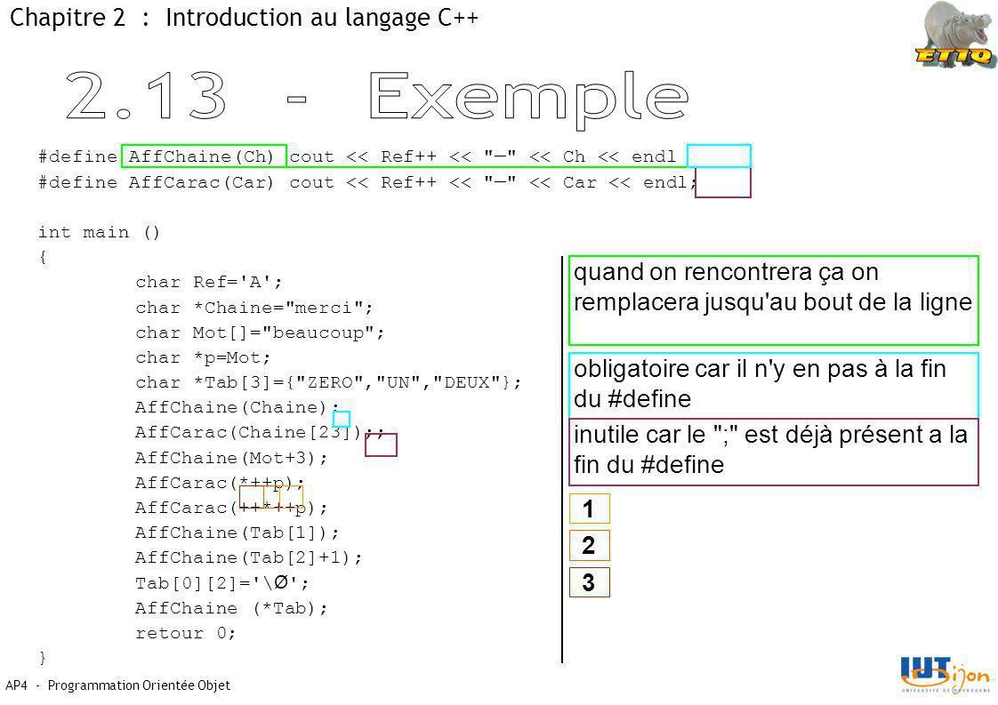2.13 - Exemple Chapitre 2 : Introduction au langage C++