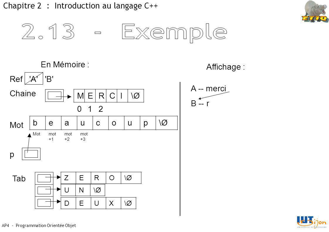 2.13 - Exemple Chapitre 2 : Introduction au langage C++ En Mémoire :