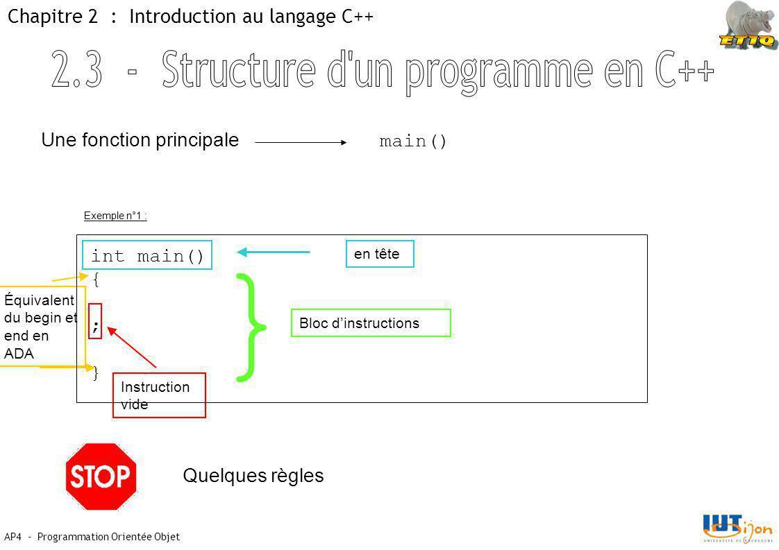 2.3 - Structure d un programme en C++