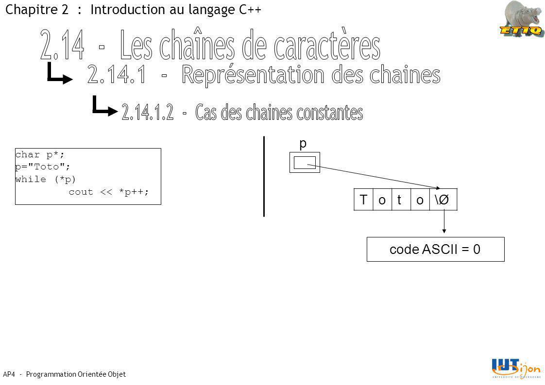 2.14 - Les chaînes de caractères