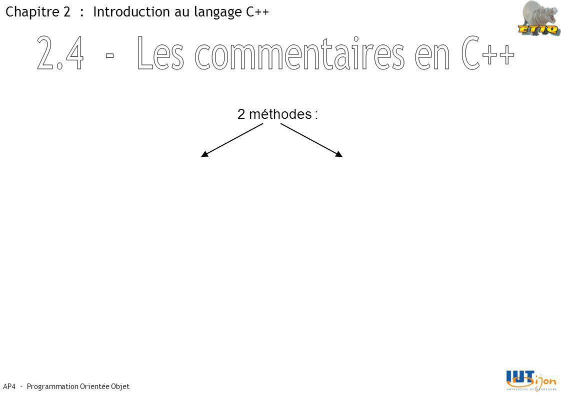 2.4 - Les commentaires en C++