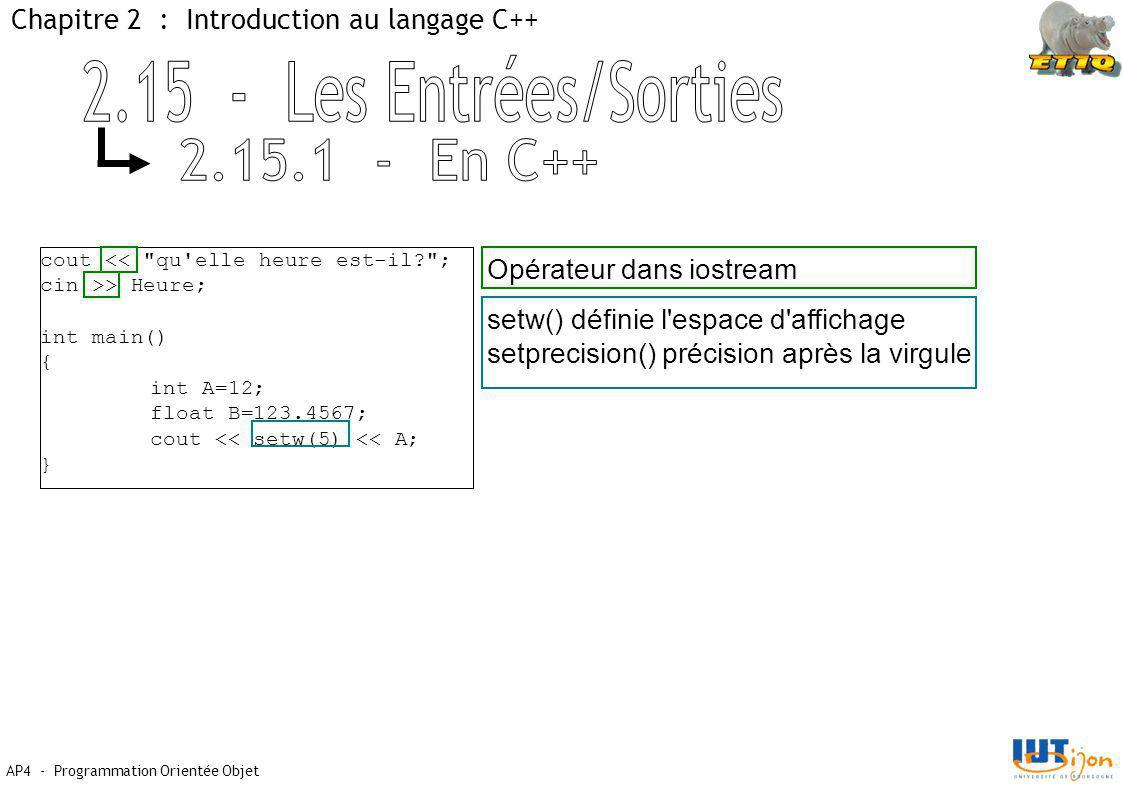 2.15 - Les Entrées/Sorties 2.15.1 - En C++