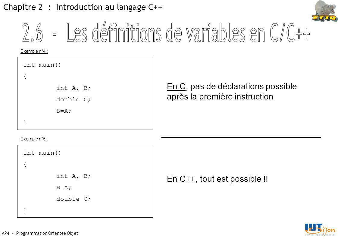2.6 - Les définitions de variables en C/C++