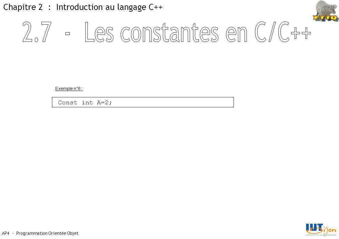 2.7 - Les constantes en C/C++