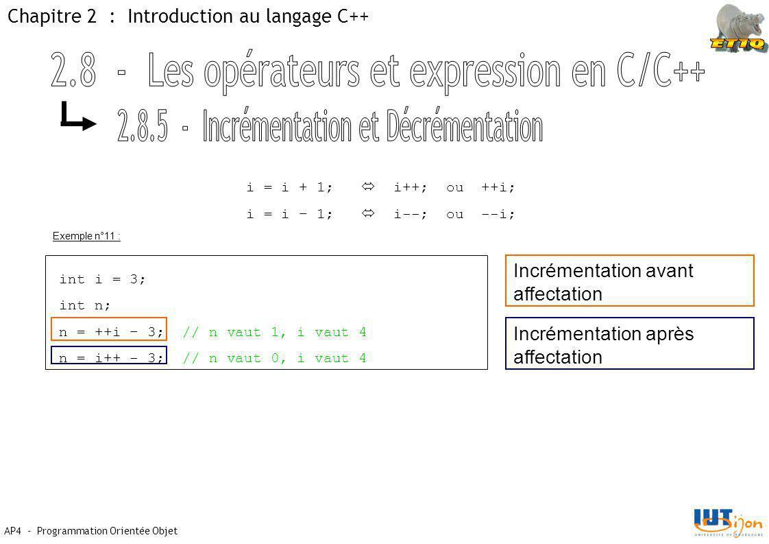 2.8 - Les opérateurs et expression en C/C++