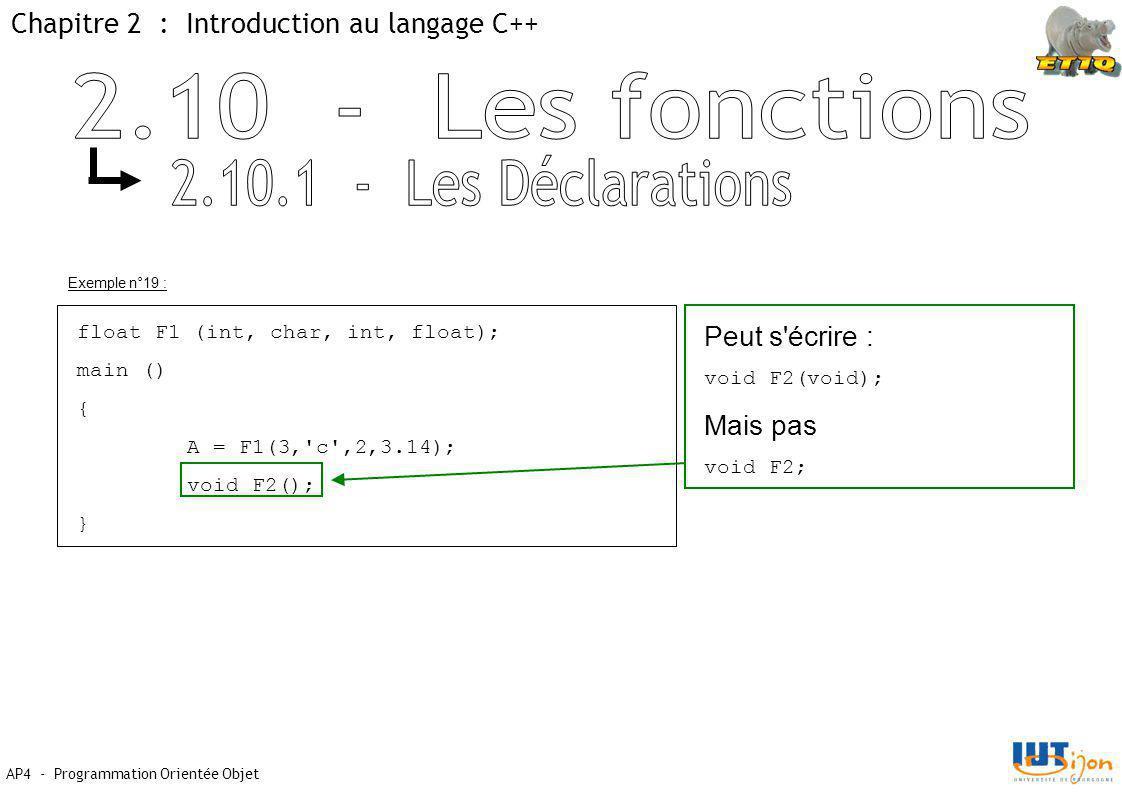 2.10 - Les fonctions 2.10.1 - Les Déclarations