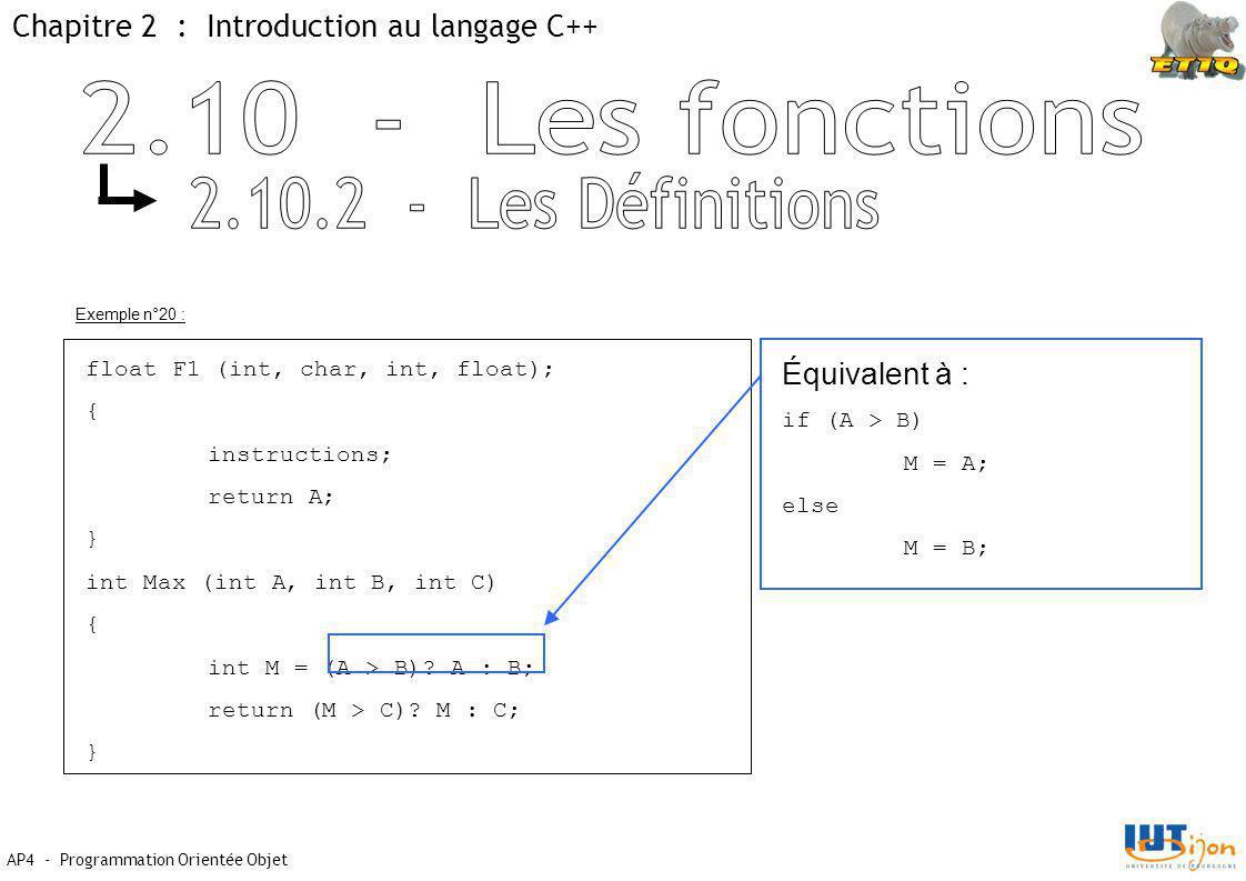 2.10 - Les fonctions 2.10.2 - Les Définitions