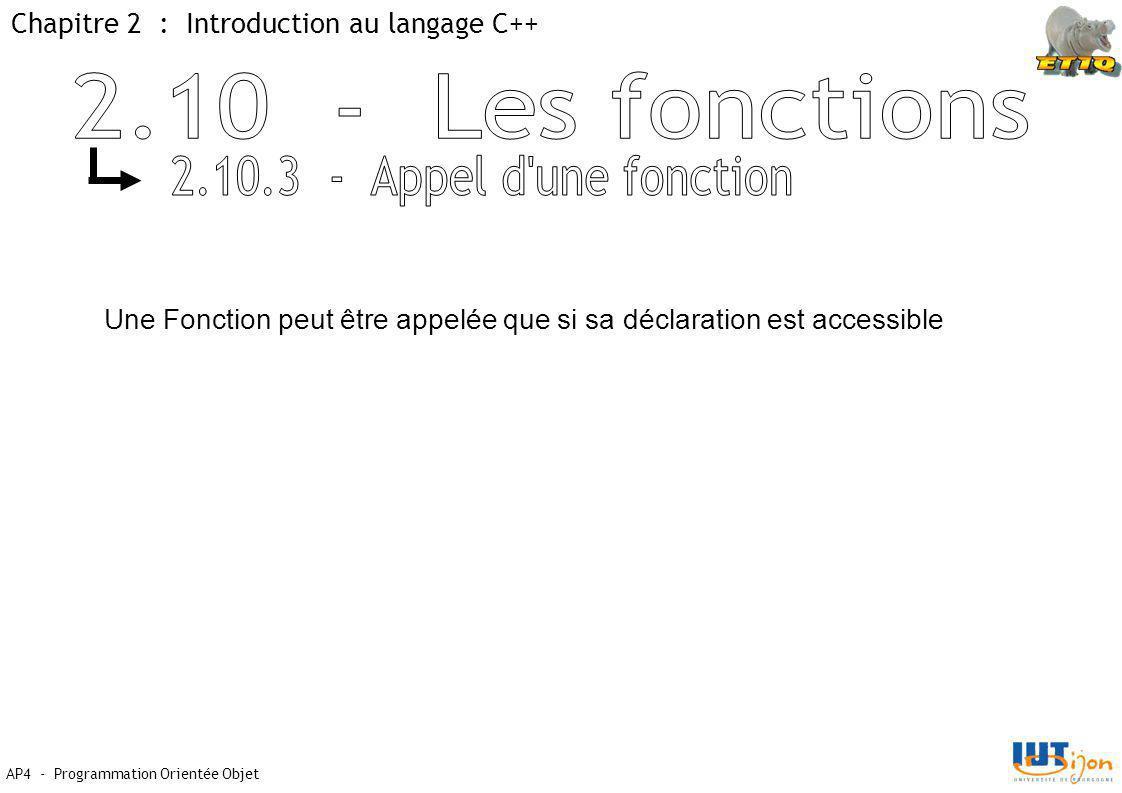 2.10 - Les fonctions 2.10.3 - Appel d une fonction