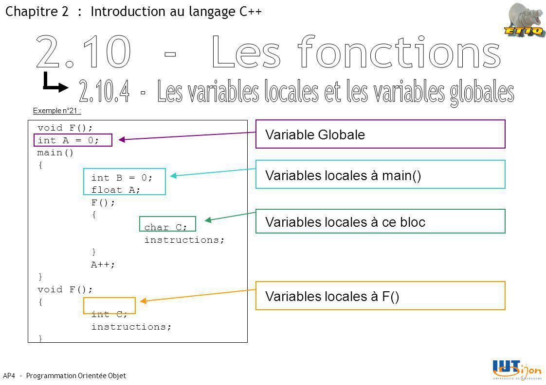 2.10.4 - Les variables locales et les variables globales